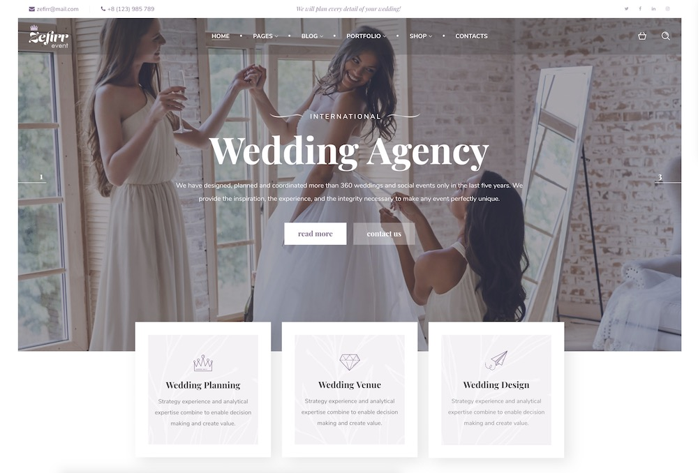 zefirr wedding wordpress theme