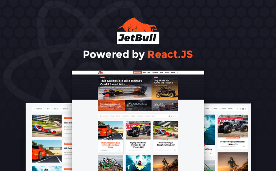 Extreme Racing Responsive React.js Powered WP Theme