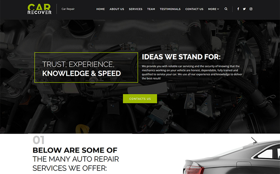 Responsive WordPress Theme for Car Repair Business
