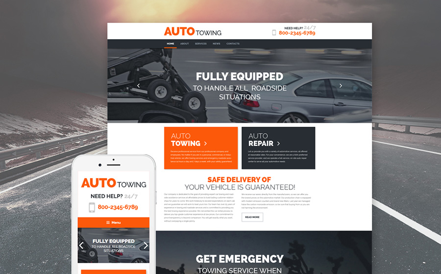 Truck Towing Services WordPress Theme