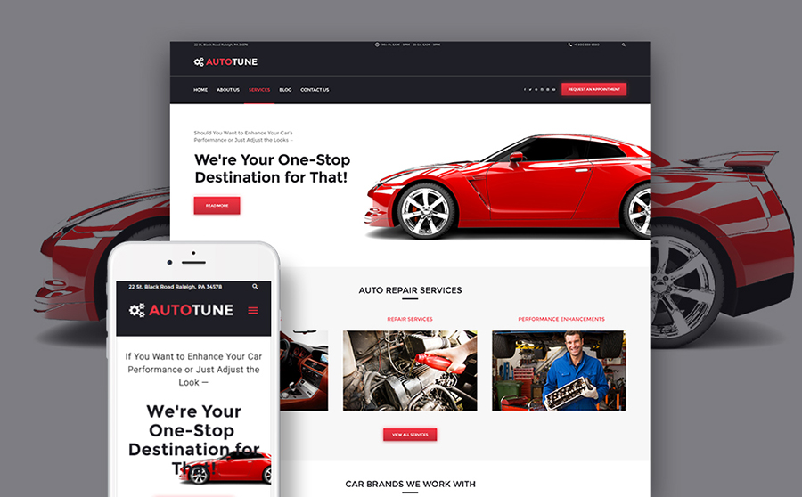WordPress Template for Car Tuning Service
