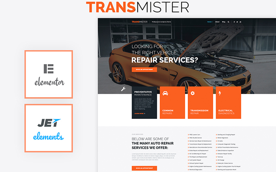 WordPress Theme for Car Repair Service
