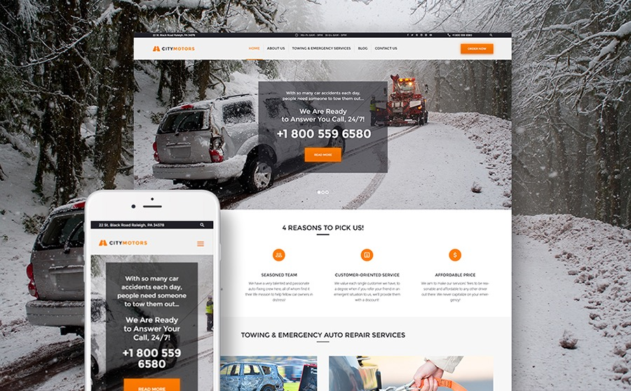 WordPress Theme for Towing Company