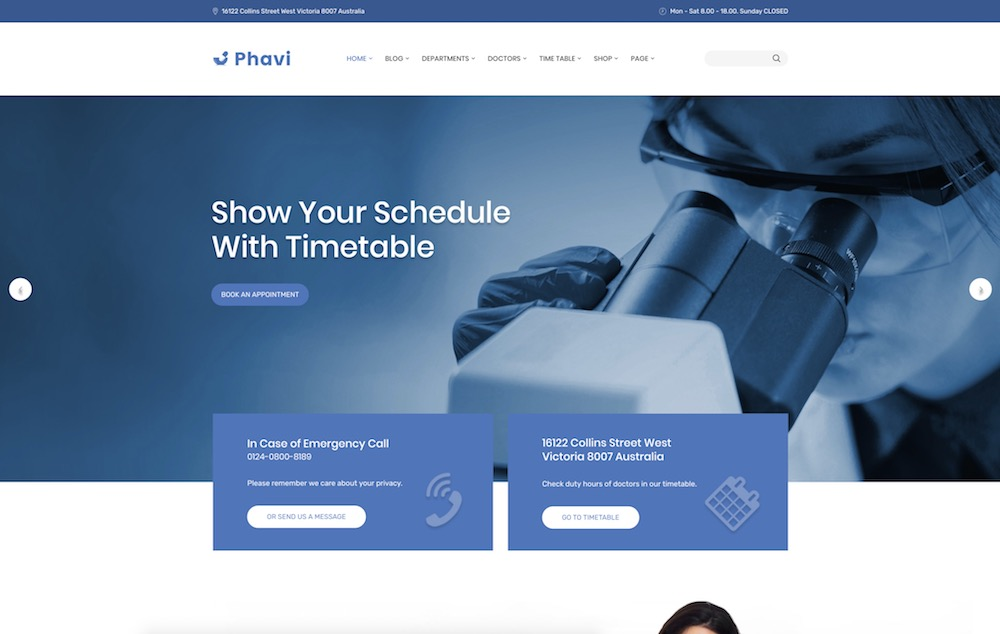 phavi healthcare wordpress theme