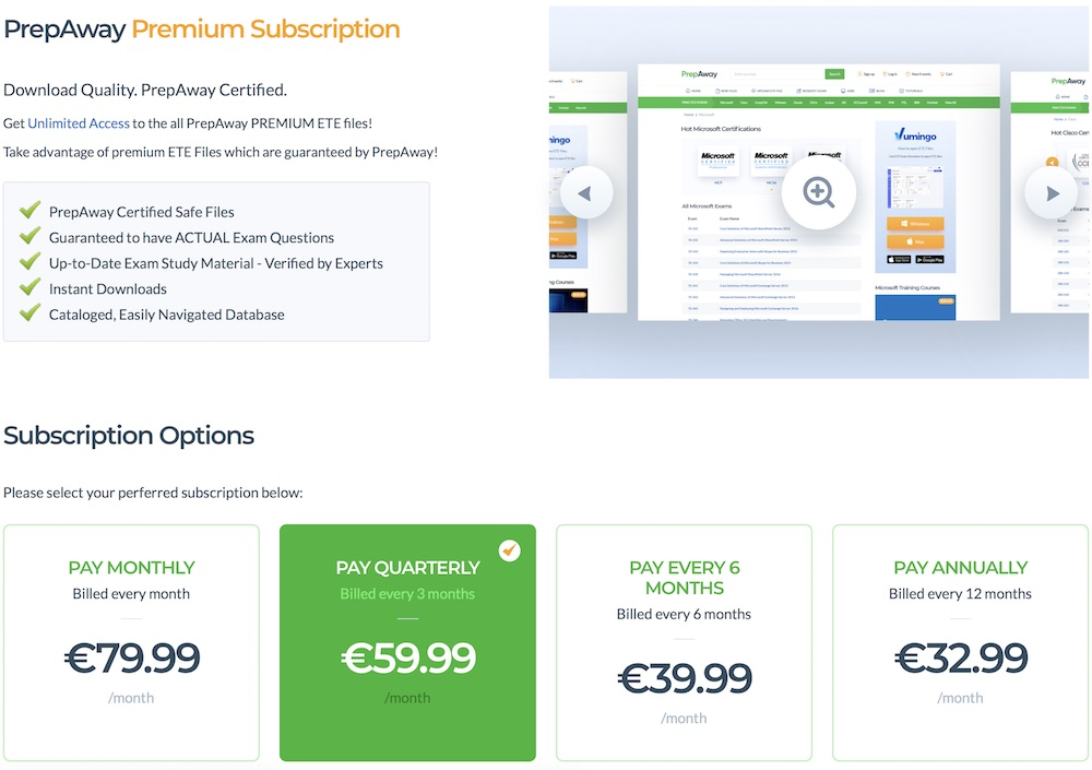 prepaway premium subscription