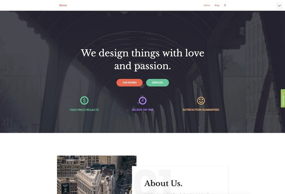 neve wordpress business theme