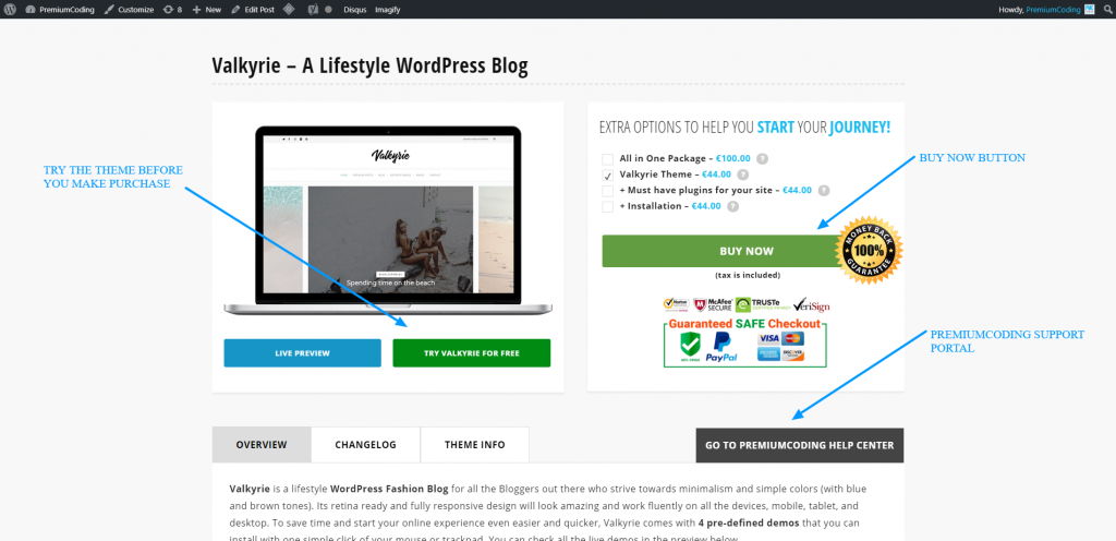 PremiumCoding wordpress theme example