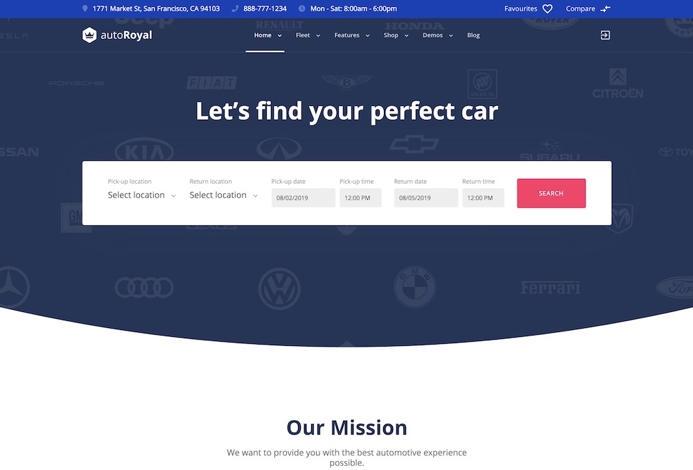 autoroyal car rental wordpress theme