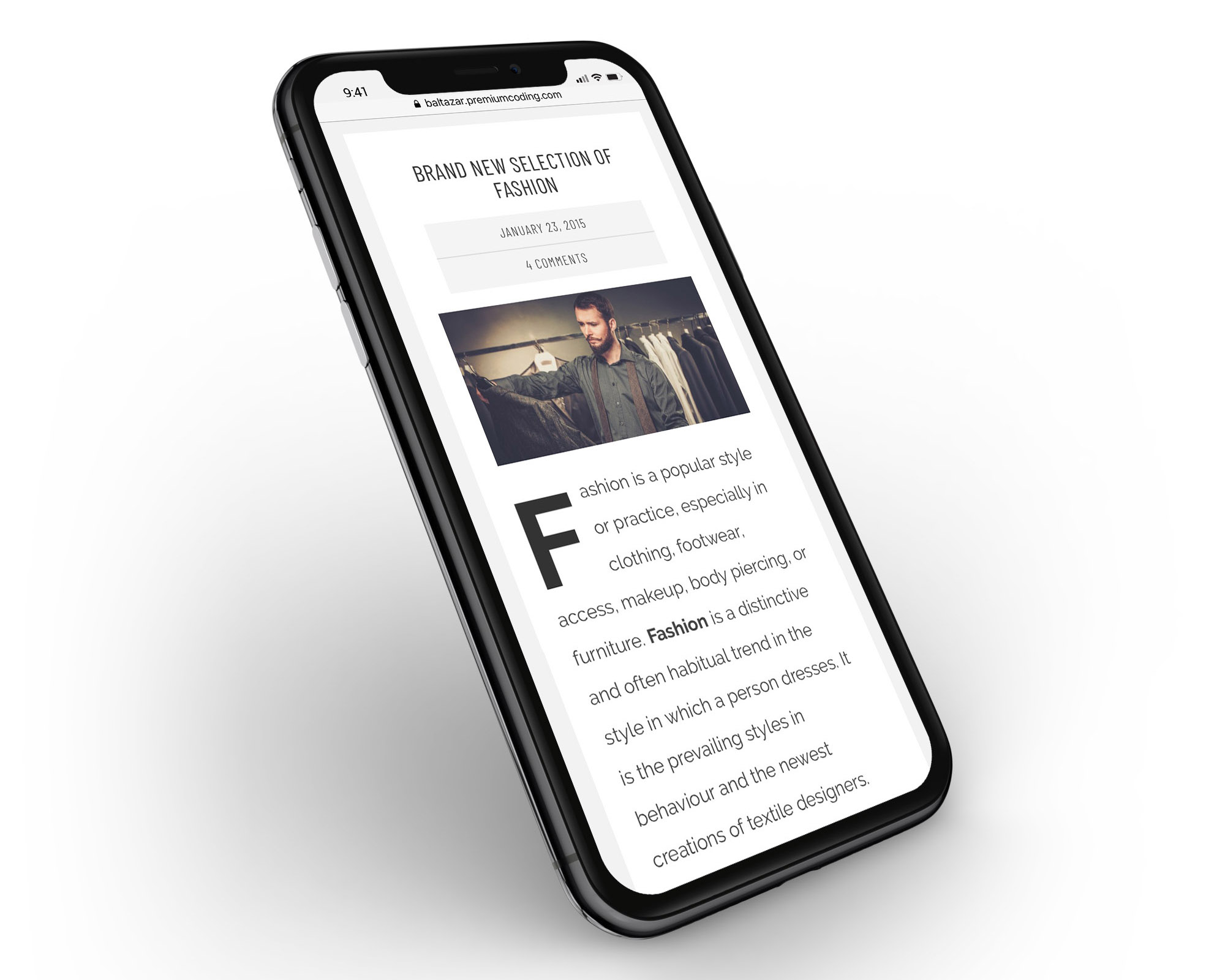 Baltazar WordPress masculine theme mobile look