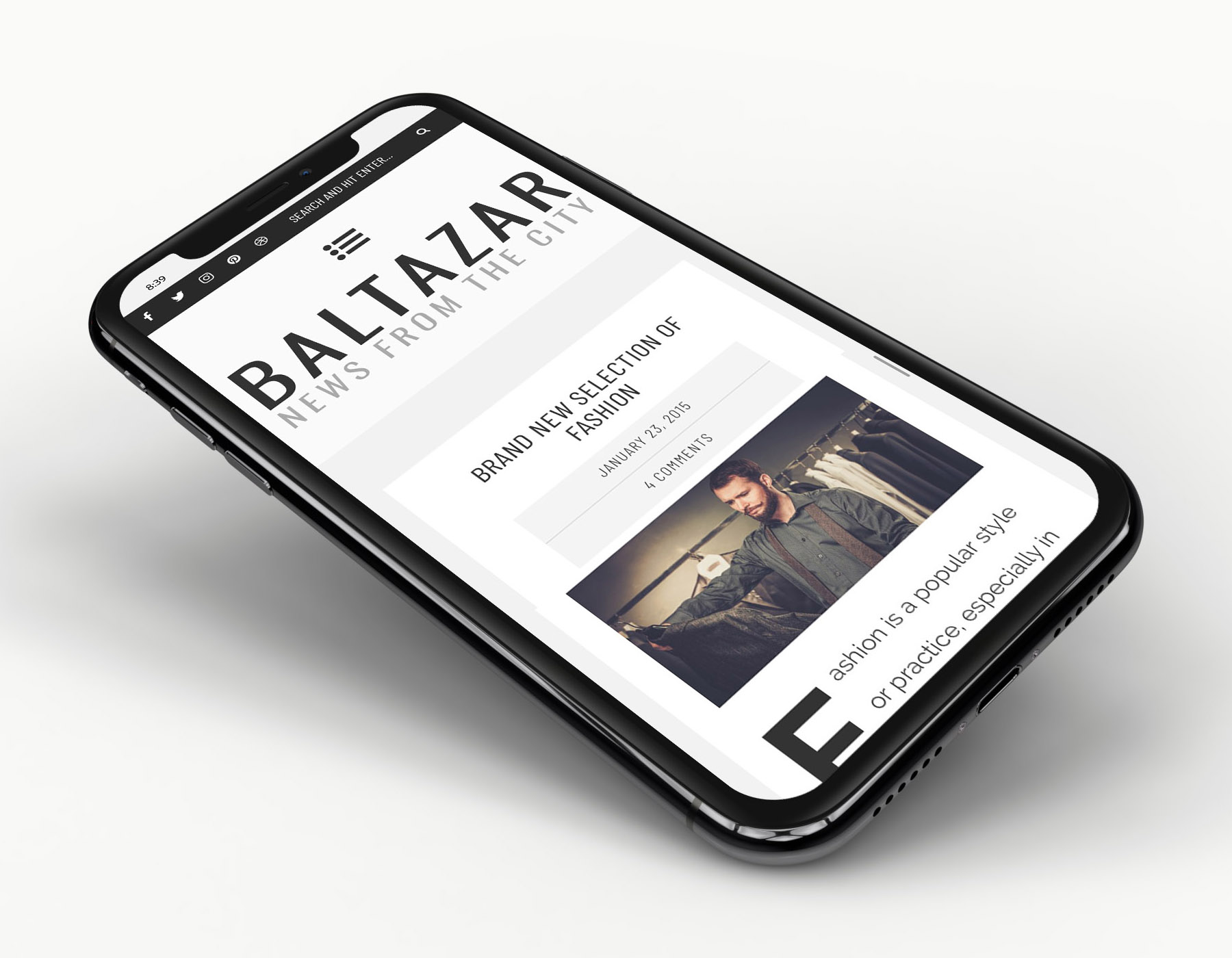 Baltazar WordPress masculine theme responsive design