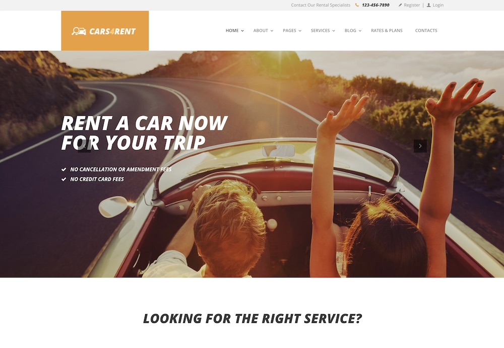 cars4rent car rental wordpress theme