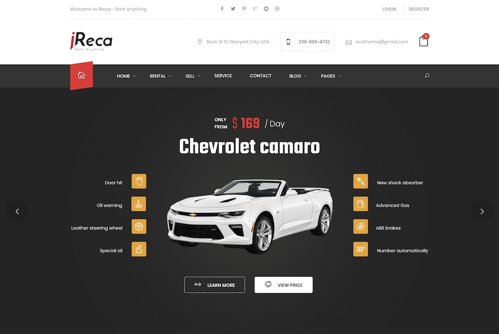 ireca car rental wordpress theme