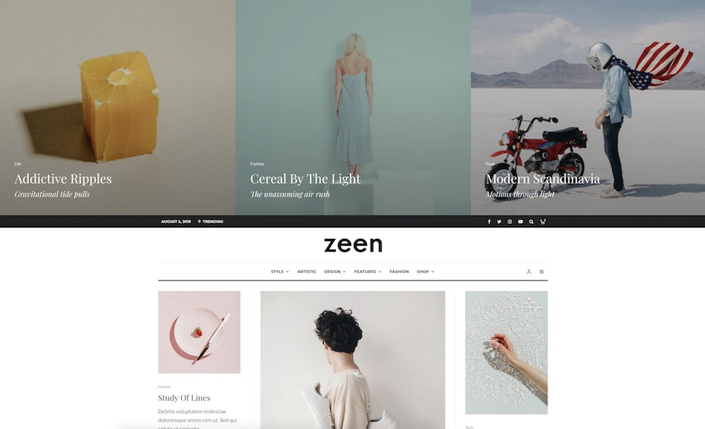 zeen content curation wordpress theme