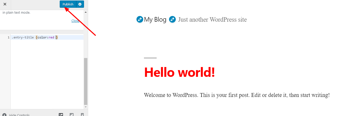 Publish button in WordPress Customizer
