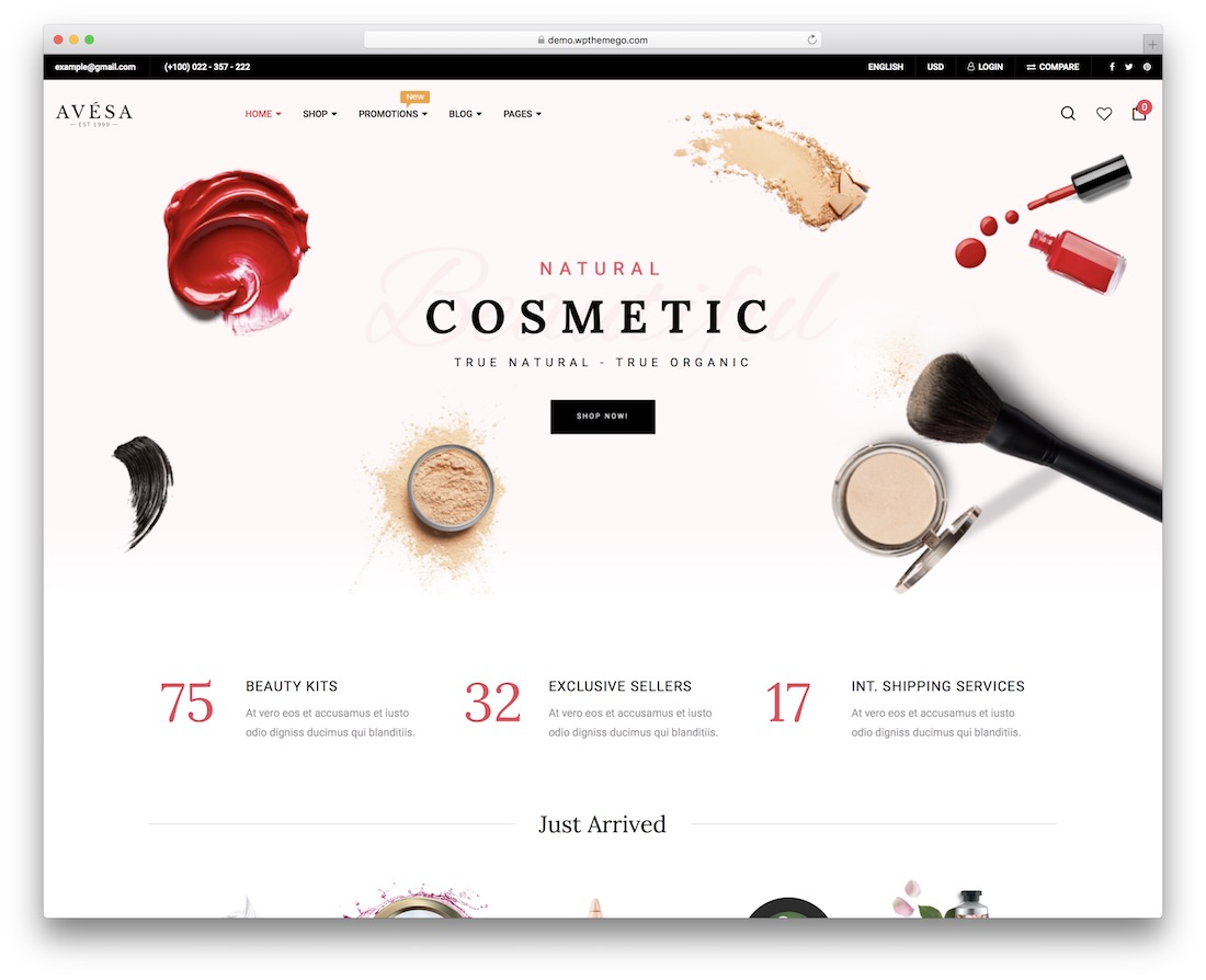 avesa cosmetic store woocommerce theme