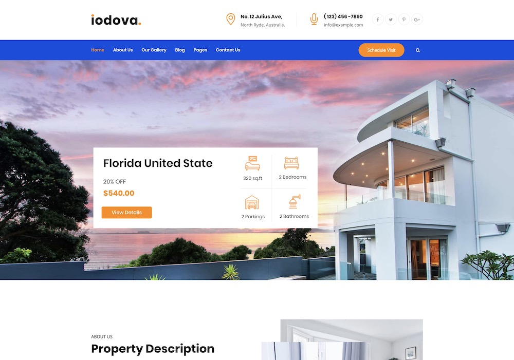 iodova real estate wordpress theme