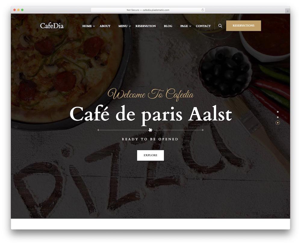 cafedia pizzeria wordpress theme