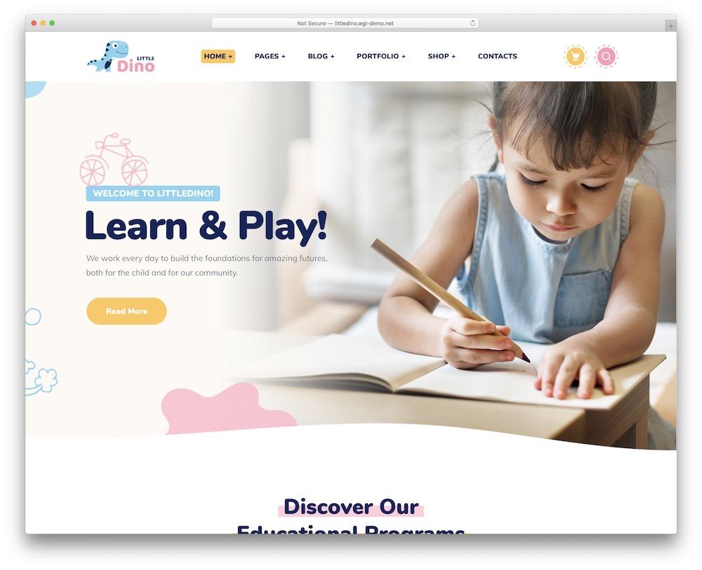 littledino kindergarten wordpress theme