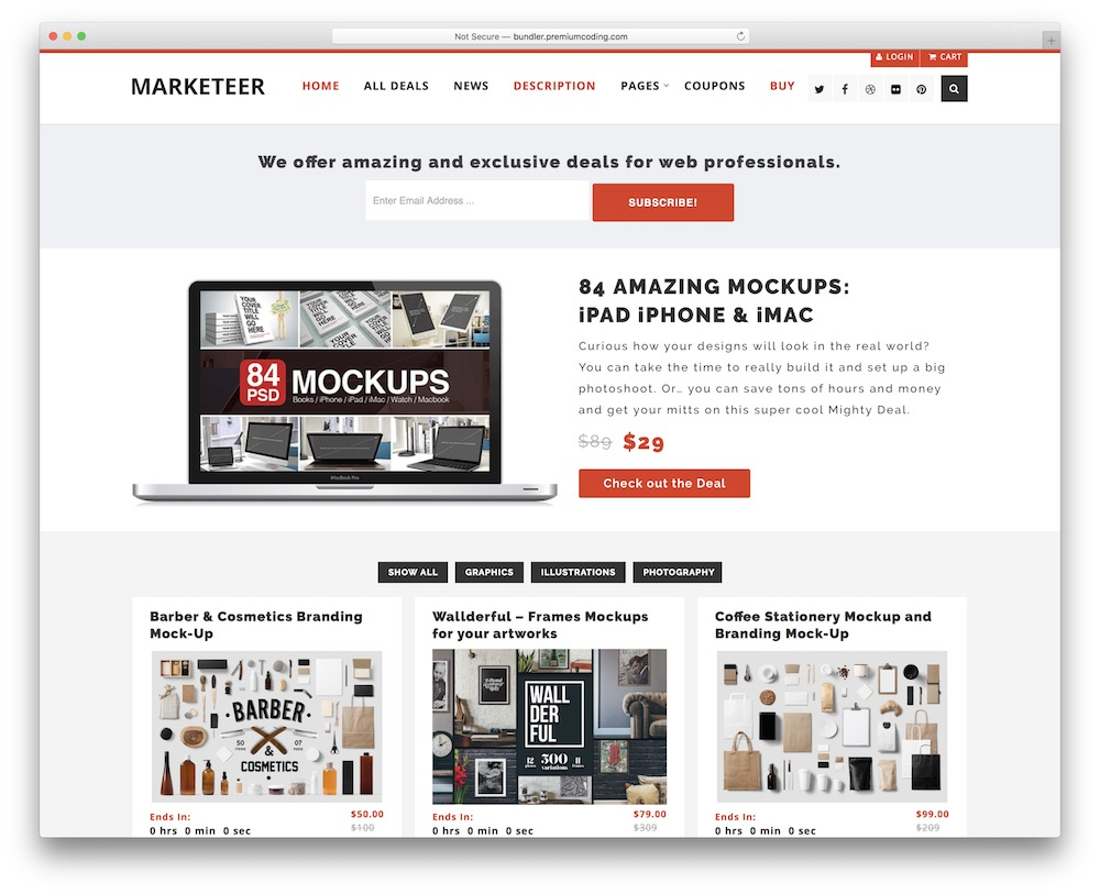 marketeer free wordpress theme