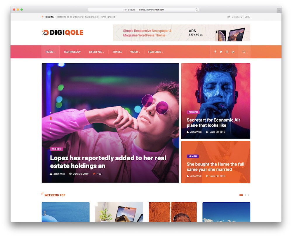 digiqole corporate blog theme