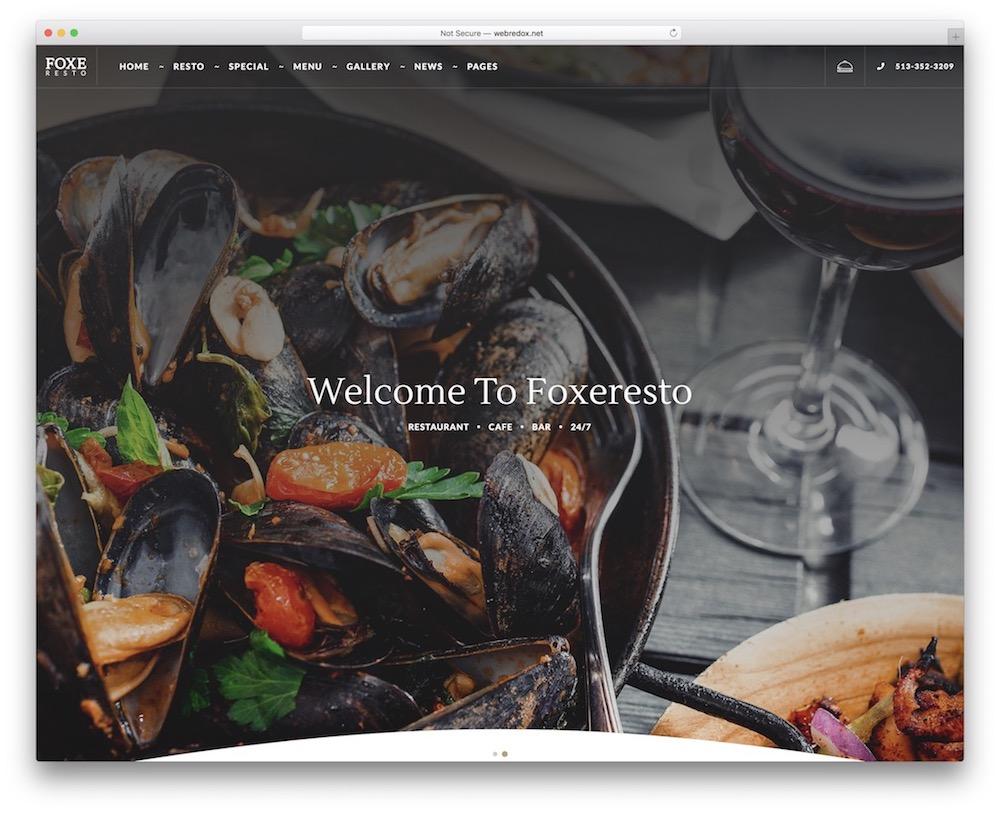 foxeresto pizzeria wordpress theme