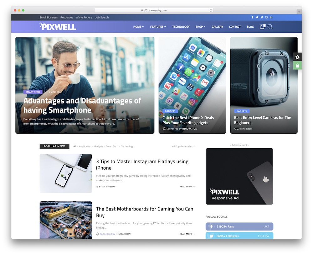 pixwell corporate blog theme