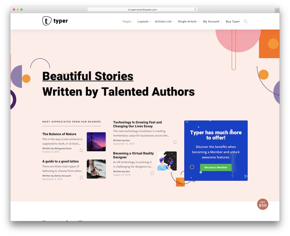 typer corporate blog theme