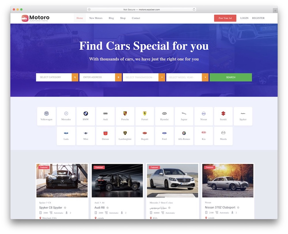 motoro car rental wordpress theme