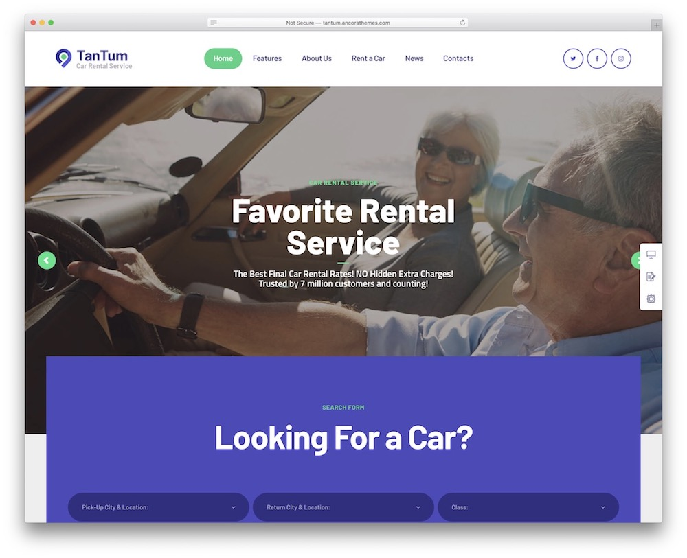 tantum car rental wordpress theme