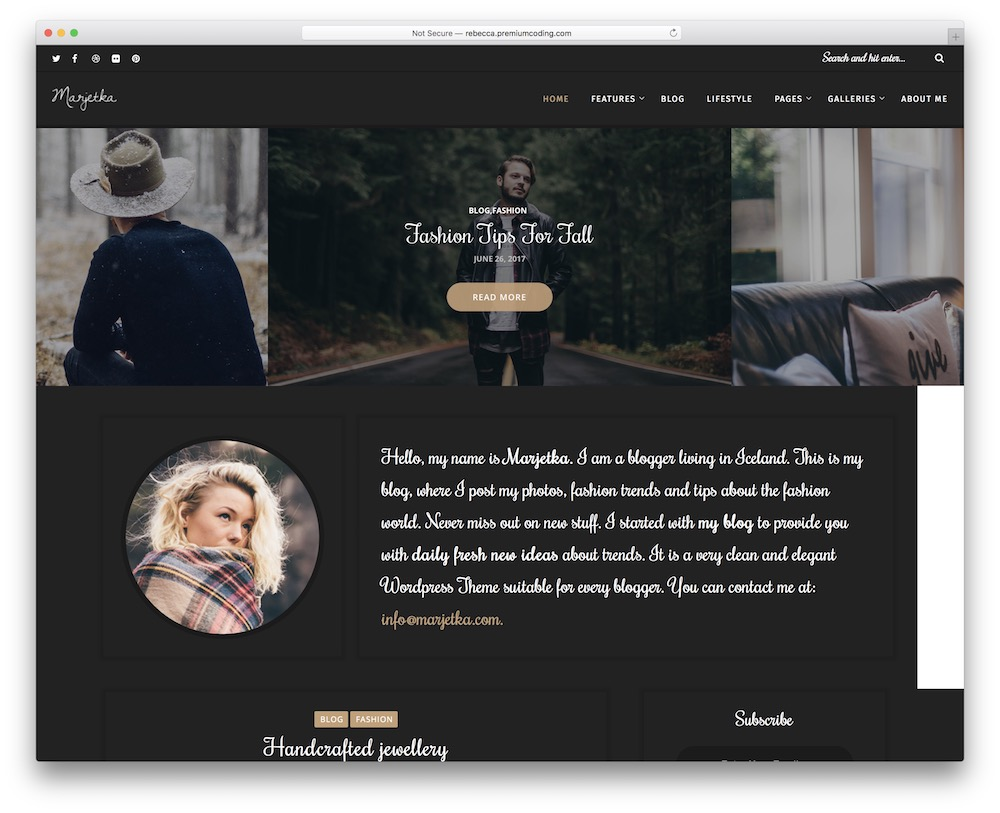 marjetka simple wordpress blog theme