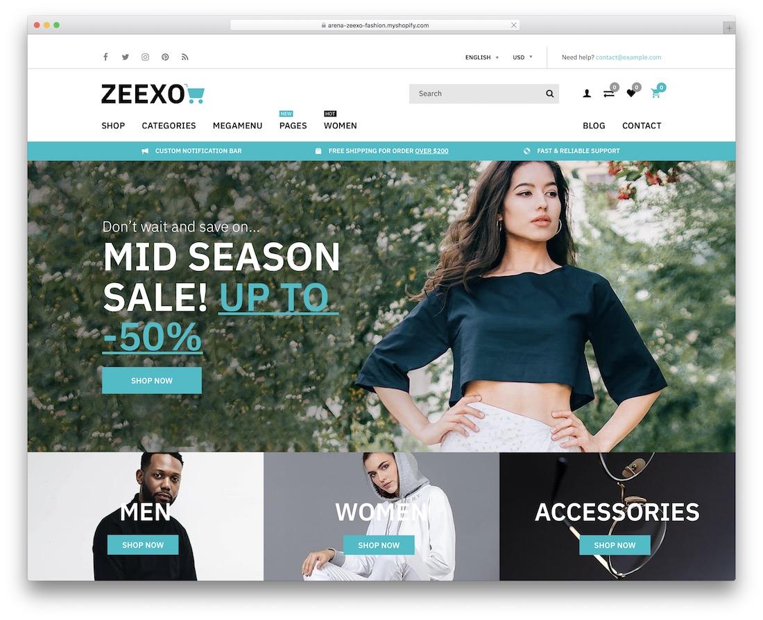 zeexo fashion shopify template