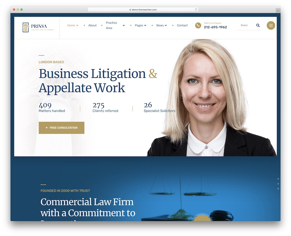 privsa lawyer and attorney wordpress theme