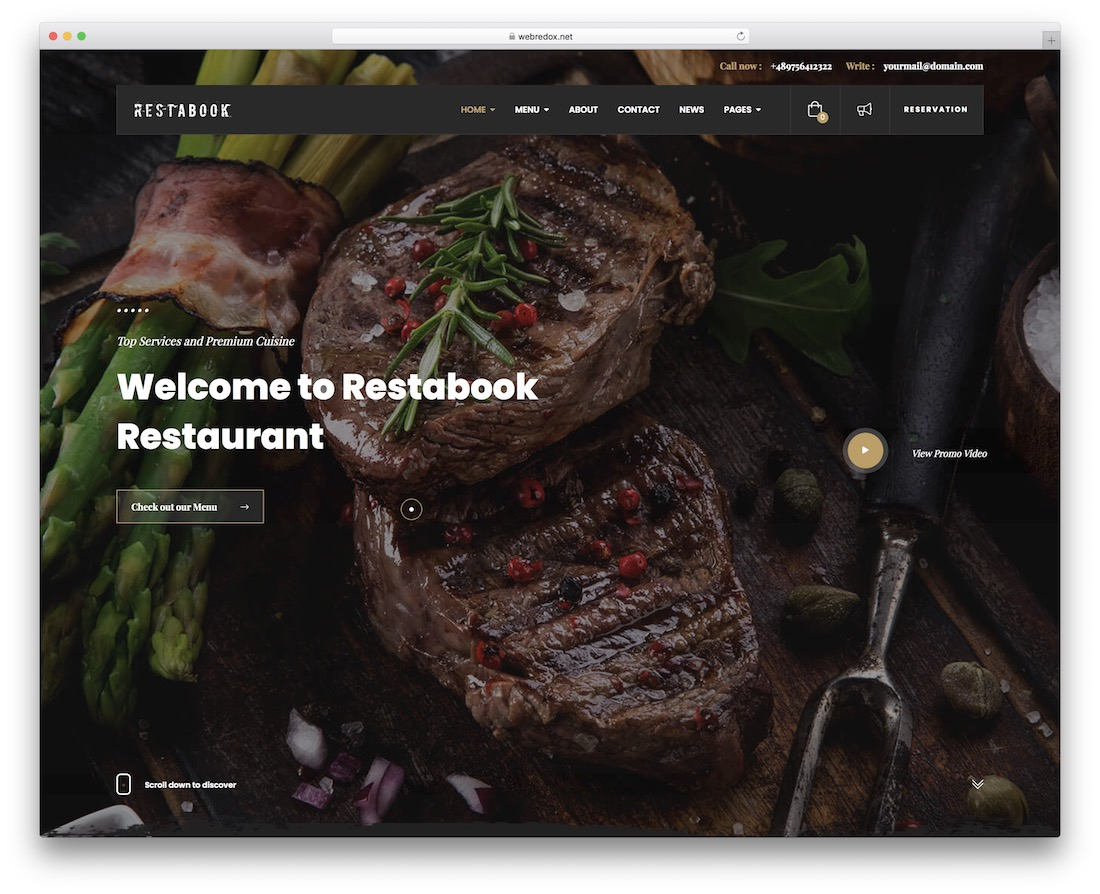 restabook cafe restaurant wordpress theme