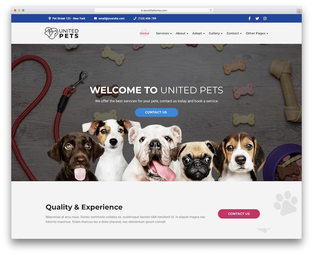 united pets animals wordpress theme