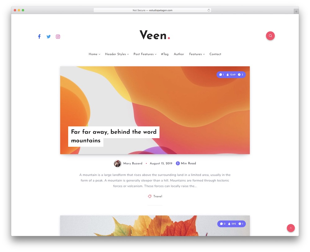 veen wordpress theme for bloggers