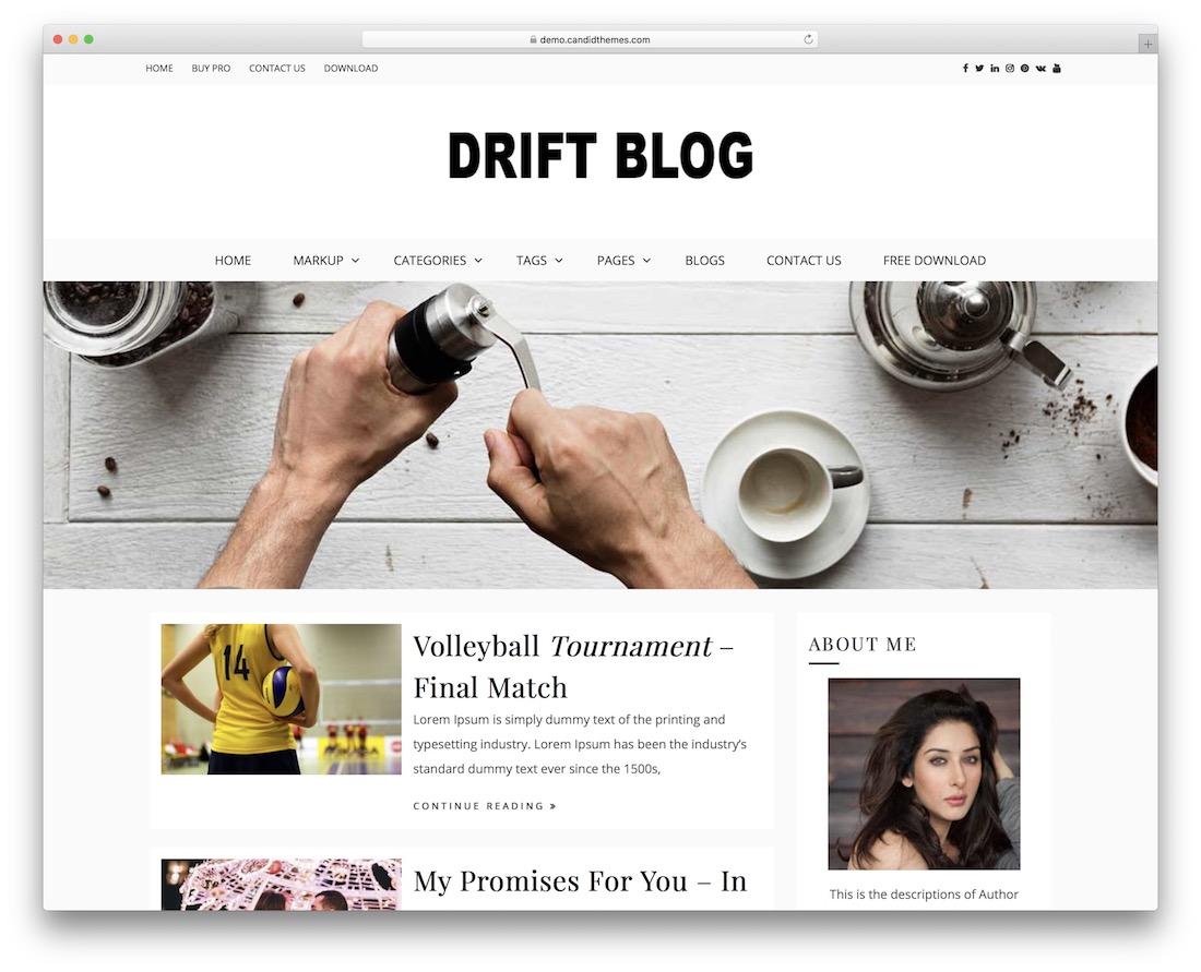 drift blog free wordpress theme