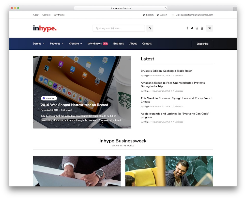 inhype corporate blog wordpress theme