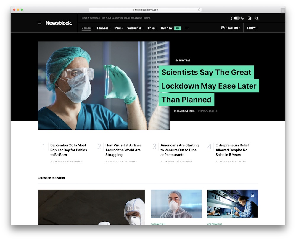 newsblock corporate blog wordpress theme