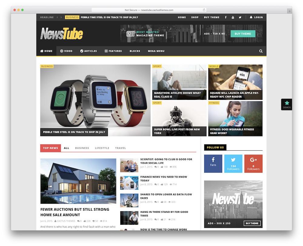 newstube video blog wordpress theme