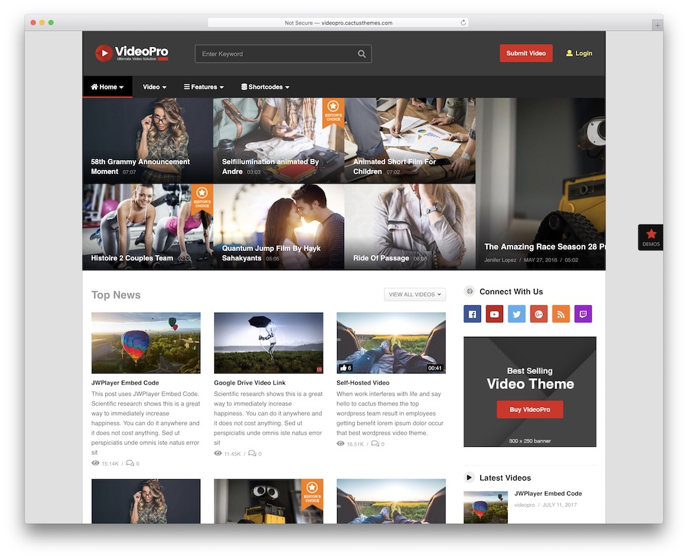 videopro video blog wordpress theme