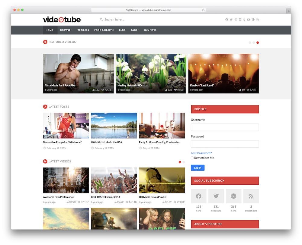videotube video blog wordpress theme