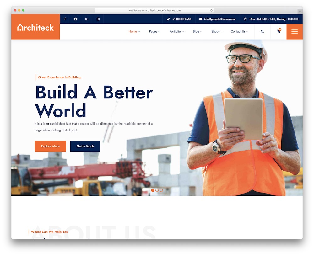 architeck construction wordpress theme
