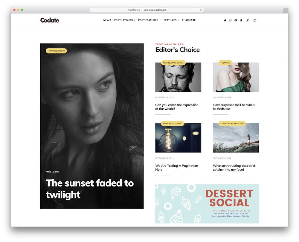 codate fashion blog wordpress theme