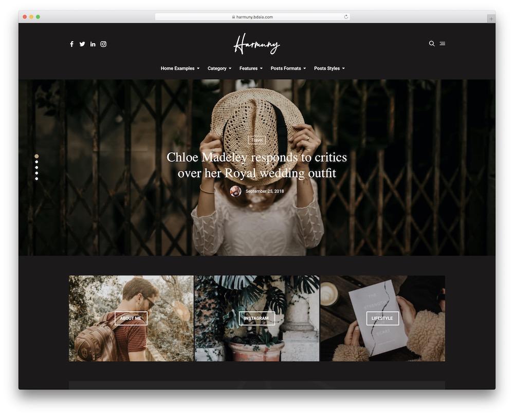 harmuny fashion blog wordpress theme