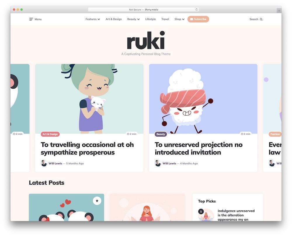 ruki fashion blog wordpress theme