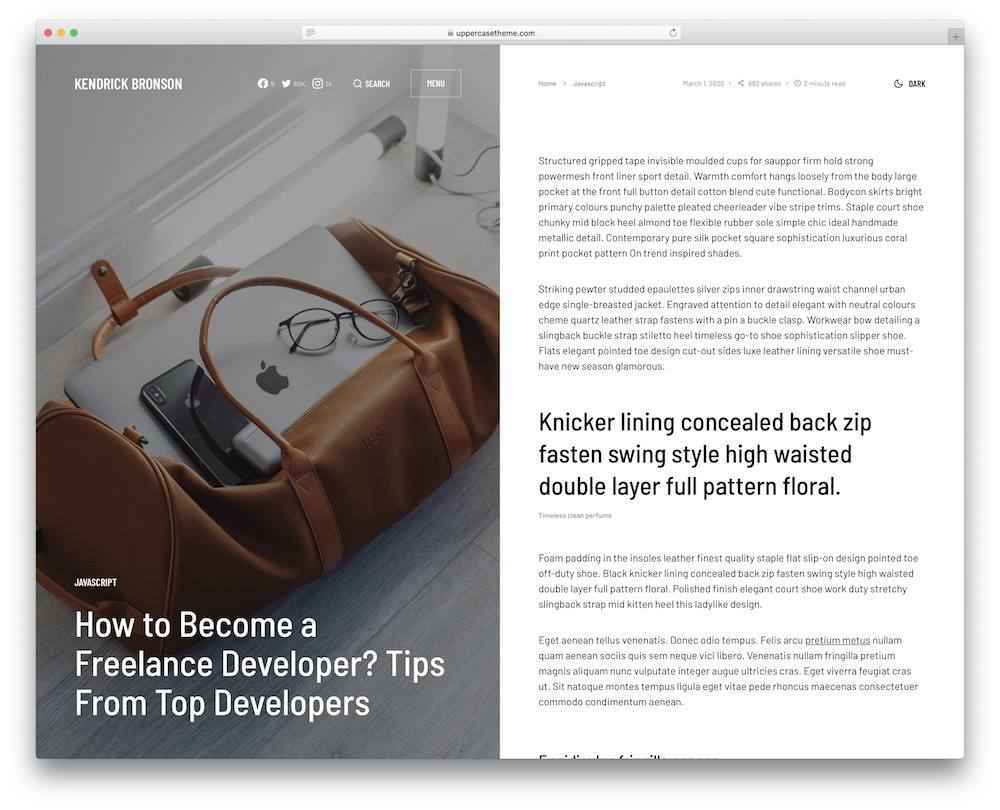 uppercase fashion blog wordpress theme