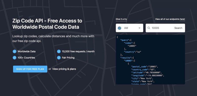 Zipcodebase – A Flexible Zip Code API