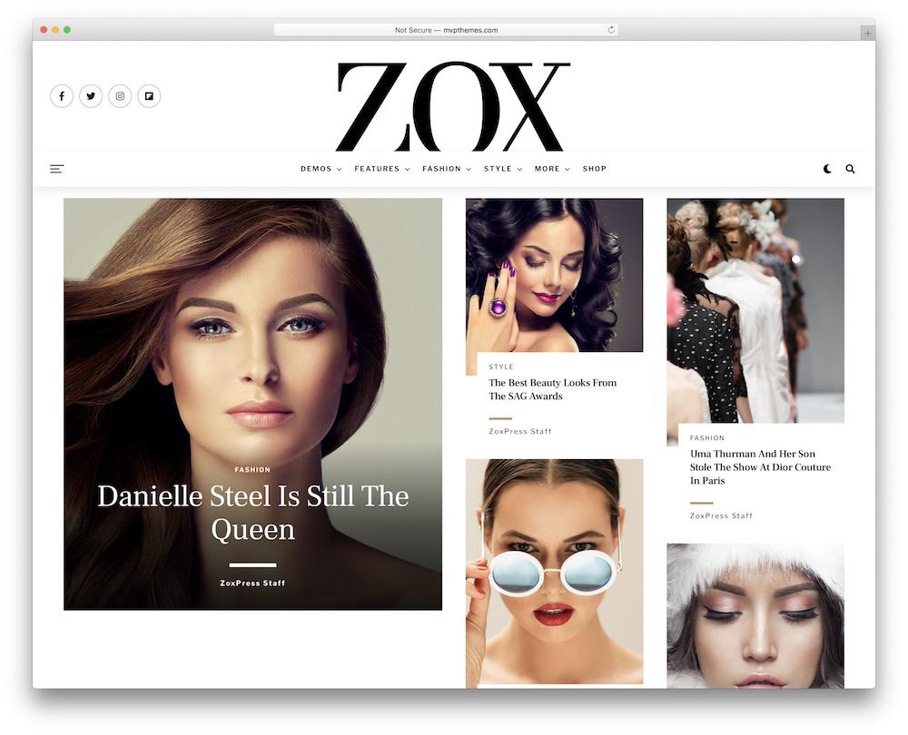 zoxpress fashion blog wordpress theme