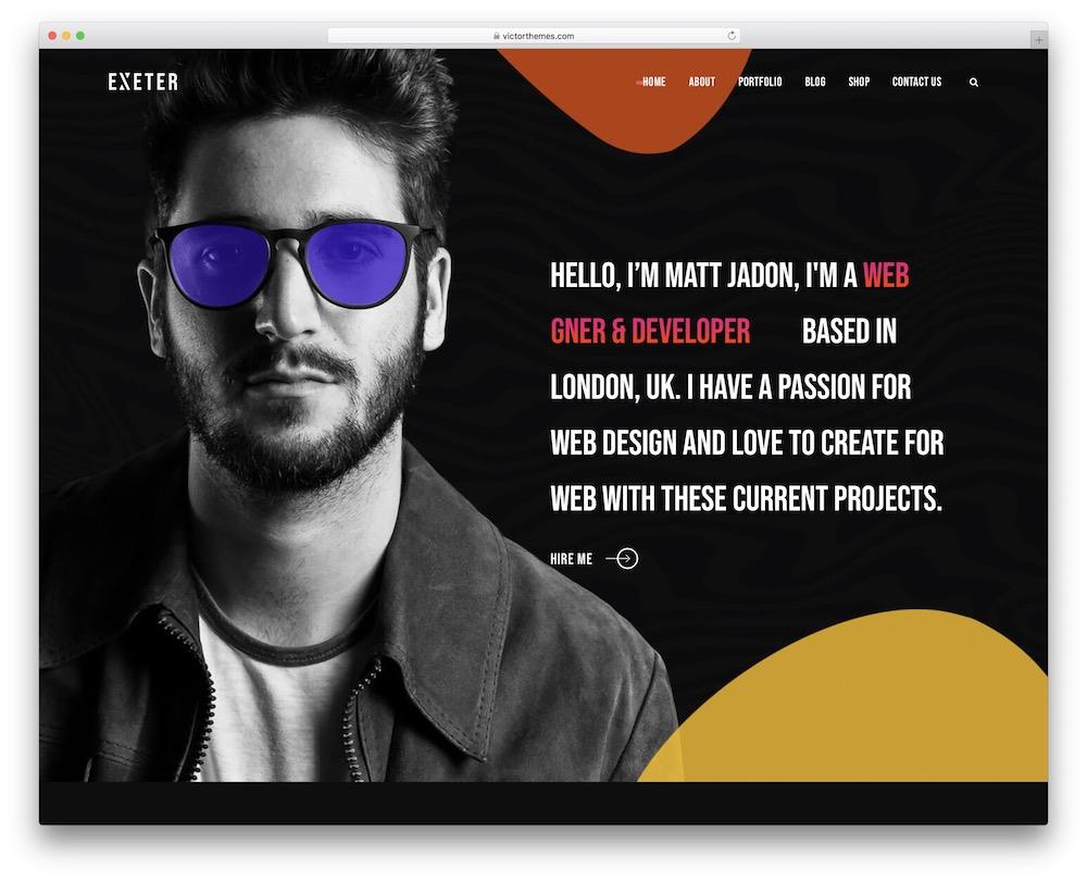 exeter personal brand wordpress theme