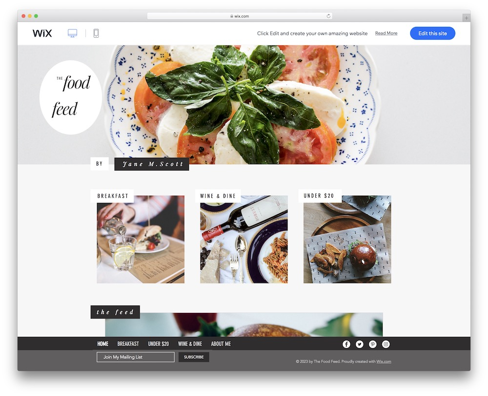 food blog wix template